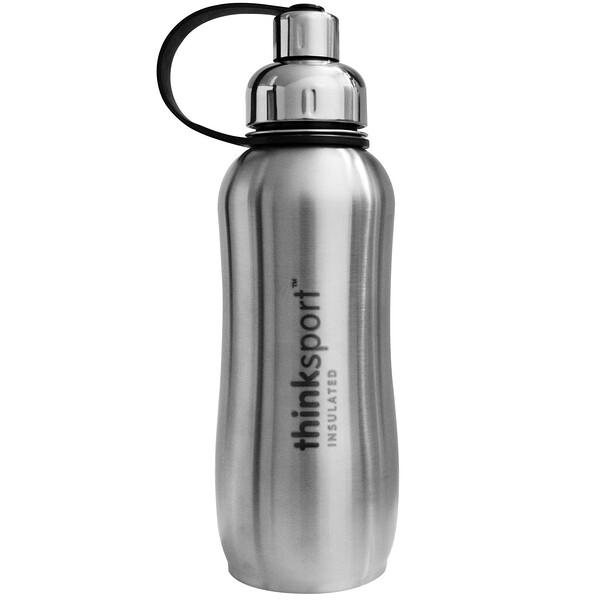 Thinksport, герметичная спортивная бутыль, серебро, 25 унций (750 мл)