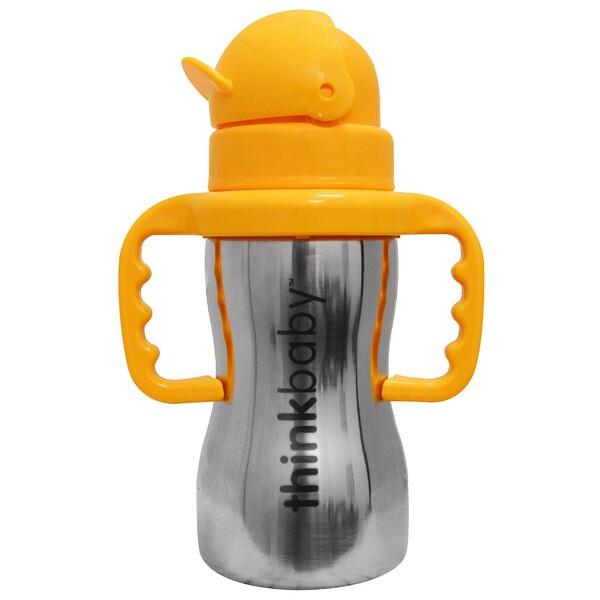Thinkbaby, Thinkster of Steel Bottle, Orange, 1 Straw Bottle, 10 oz (290 ml)