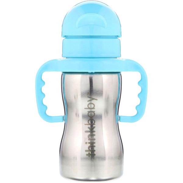 Think, Thinkbaby, Thinkster в виде стальной бутылки, синяя, 1 соломенная бутылка, 9 унций (260 мл) (Discontinued Item)