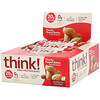 ThinkThin, Высокопротеиновые батончики, кусочки арахисовой пасты, 10батончиков по 60г