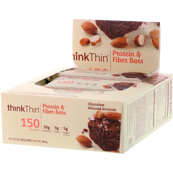 ThinkThin, High Protein Bars, Chocolate Almond Brownie, 10 Bars, 1.41 oz (40g) Each
