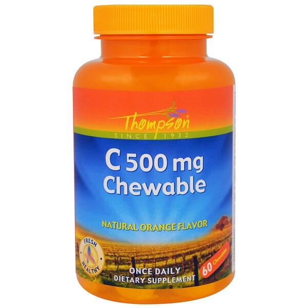 Thompson, C 500 мг, жевательные таблетки с натуральным апельсиновым вкусом, 60 жевательных таблеток