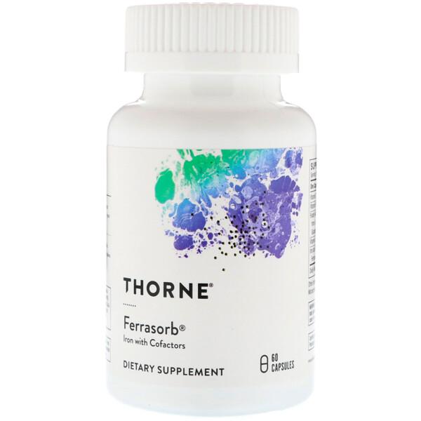 Ferrasorb, железо с кофакторами, 60 капсул