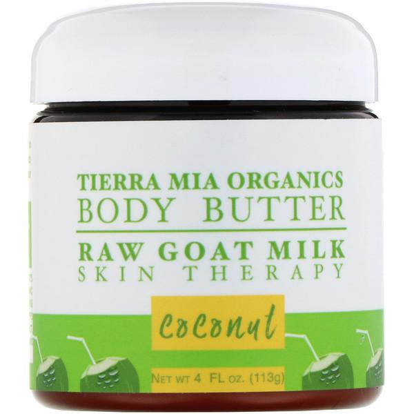 Tierra Mia Organics, Body Butter, Raw Goat Milk Skin Therapy, Coconut, 4 fl oz (113 g)