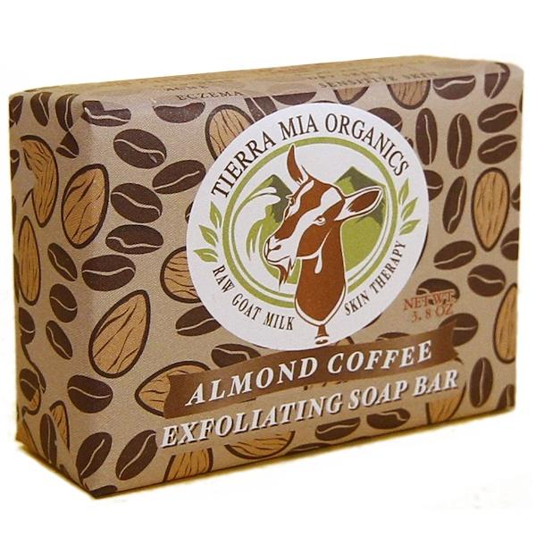 Tierra Mia Organics, Лечебное средство из чистого козьего молока, отшелушивающее мыло, миндаль и кофе, 3,8 унции (Discontinued Item)