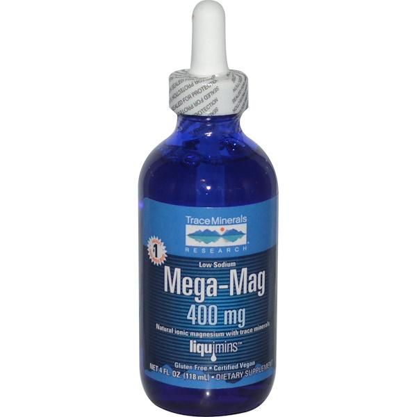 Mega-Mag, природный ионический магний с микроэлементами, 400 мг, 118 мл