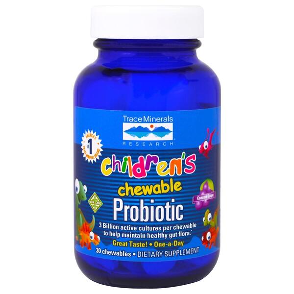 Trace Minerals Research, детский жевательный пробиотик, со вкусом винограда сорта «Конкорд», 30 жевательных таблеток