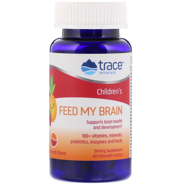 Feed My Brain, для детей, со вкусом фруктового пунша, 60 жевательных вафель