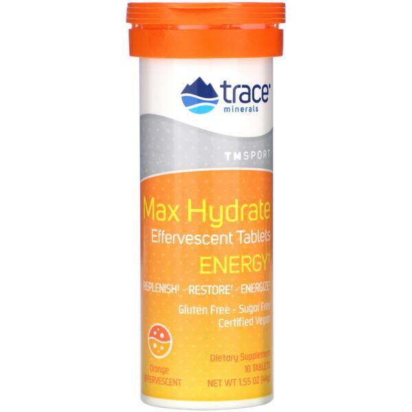 Max Hydrate Energy, Effervescent Tablets, Orange, 1.55 oz (44 g)