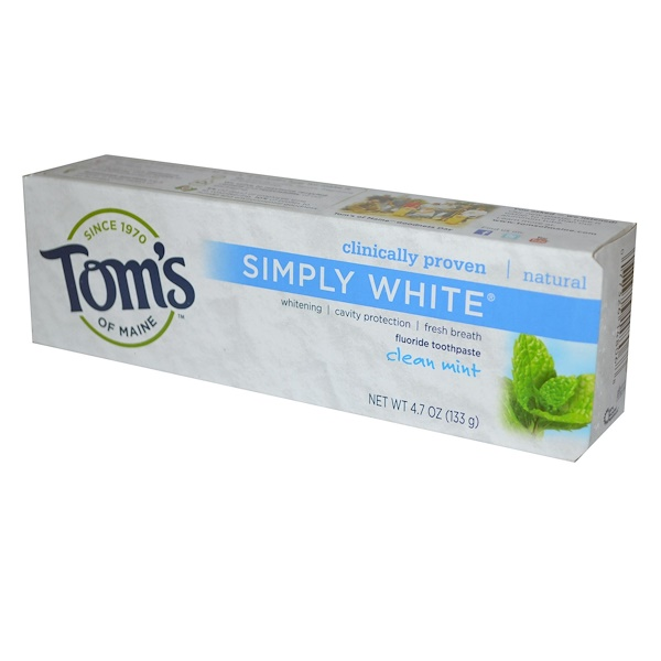 Simply White, зубная паста с фтором, чистая мята, 133 г (4,7 унции)