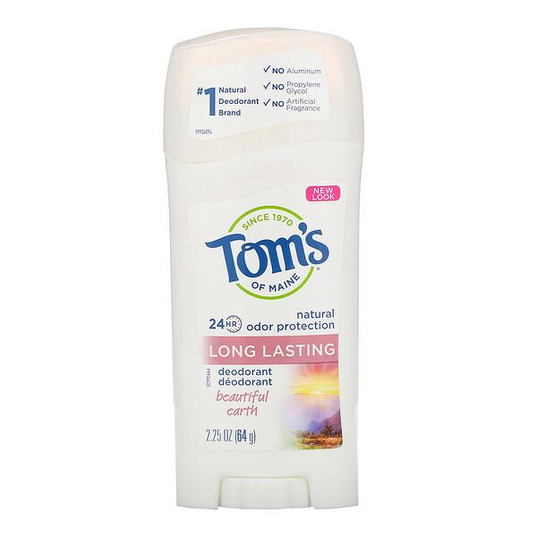 Tom's of Maine, Натуральный стойкий дезодорант для женщин, Beautiful Earth, 2,25 унции (64 г) (Discontinued Item)