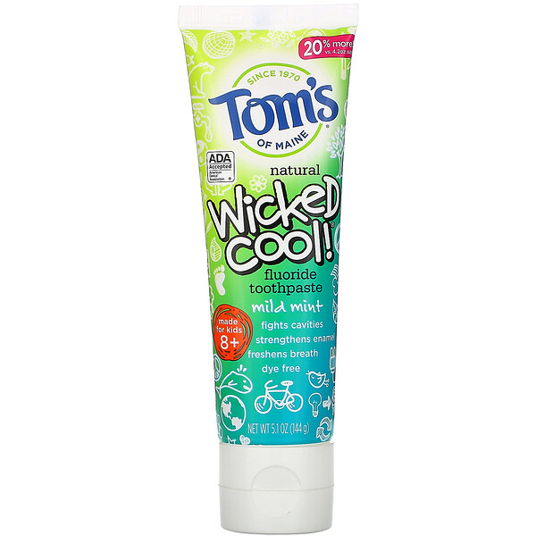 Wicked Cool!, Natural Fluoride Toothpaste, Kids 8+, Wild Mint, 5.1 oz (144 g)