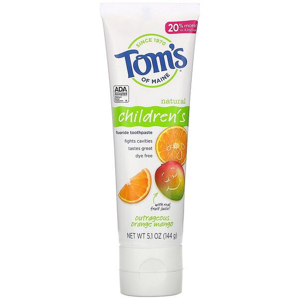 Natural Children's Fluoride Toothpaste, Outrageous Orange Mango, 5.1 oz (144 g)