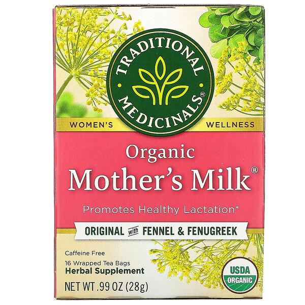 Mother's Milk, органический фирменный чай с фенхелем и пажитником, без кофеина, 16чайных пакетиков, 28г (0,99унции)