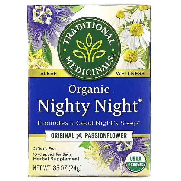 Traditional Medicinals, Nighty Night, органический, фирменный чай с пассифлорой, без кофеина, 16чайных пакетиков, 24г (0,85унции)