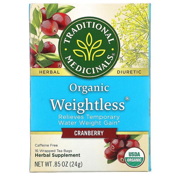 Organic Weightless, клюква, без кофеина, 16чайных пакетиков, 24г (0,85унции)