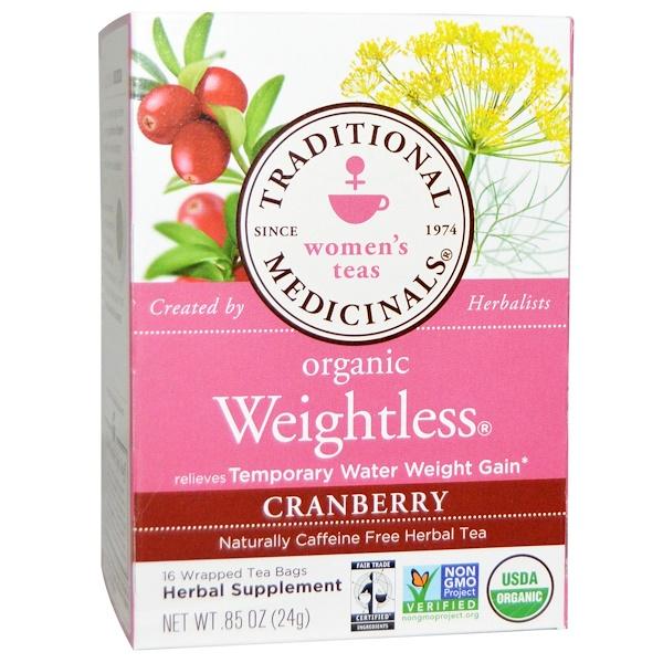 Женские сборы, Organic Weightless, натуральный травяной чай без кофеина, клюква, 16 чайных пакетиков в индивидуальной упаковке, 24 г (0,85 унции)