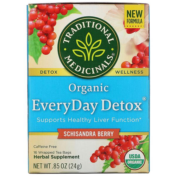 Organic EveryDay Detox, Caffeine Free, Schisandra Berry, 16 Wrapped Tea Bags, .85 oz (24 g)