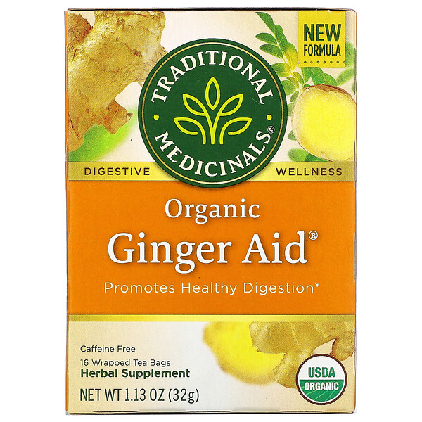 Traditional Medicinals, Ginger Aid, органический, (имбирь), без кофеина, 16чайных пакетиков, 32г (1,13унции)