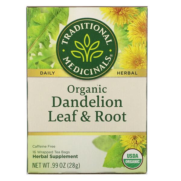 Травяной сбор, листья и корень органического одуванчика, без кофеина, 16чайных пакетиков, 28г (0,99 унции)