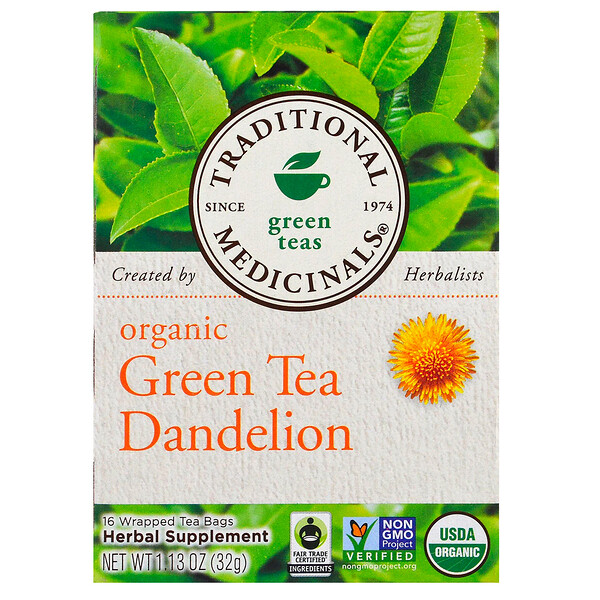 Органический зеленый чай с одуванчиком, без кофеина, 16 пакетиков, 1,13 унции (32 г)