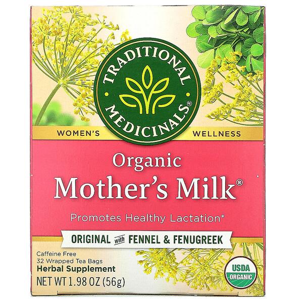 Traditional Medicinals, Mother's Milk, органический фирменный чай с фенхелем и пажитником, без кофеина, 32чайных пакетиков, 56г (1,98унции)