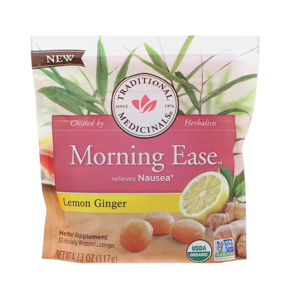 Traditional Medicinals, Organic, Morning Ease, Lemon Ginger, 30 Individually Wrapped Lozenges, 4.13 oz (117 g) (Discontinued Item)