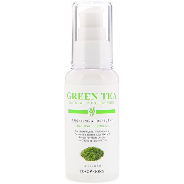 Натуральная чистая эссенция зеленого чая, осветляющая процедура, 2,02 жидкой унции (60 мл)