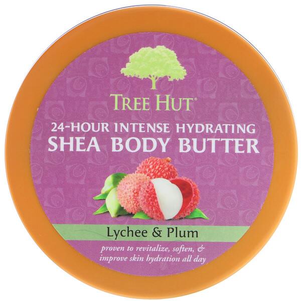 Tree Hut, Масло ши для тела для 24-часового интенсивного увлажнения, личи и сливы, 198 г