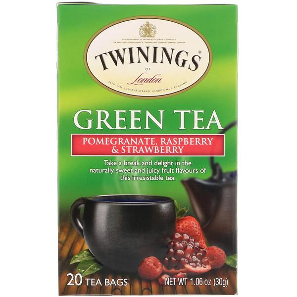 Зелёный чай, гранат, малина и клубника, 20 пакетиков, 30 г