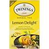 Twinings, Травяной чай, лимонное наслаждение, без кофеина, 20 отдельных чайных пакетиков, 1,41 унц. (40 г)