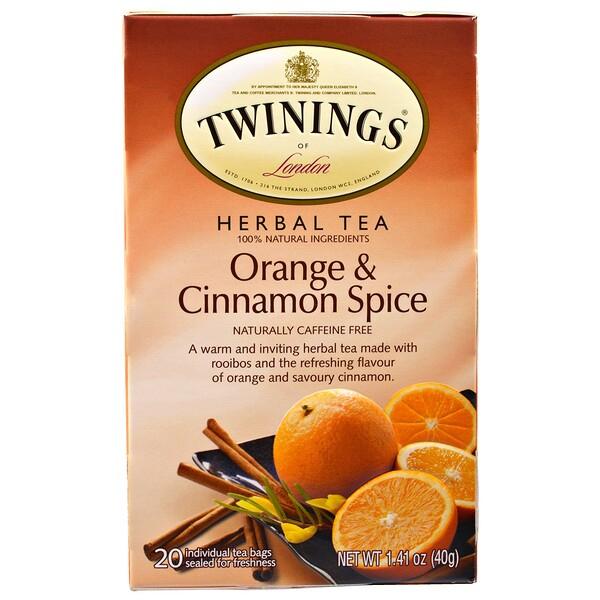 Травяной чай, со вкусом апельсина и корицы, без кофеина, 20 чайных пакетиков, 40 г (1,41 унции)