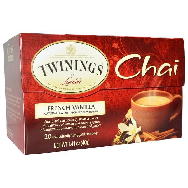 Twinings, Чай, французская ваниль, 20 пакетиков, 1,41 унции (40 г) (Discontinued Item)