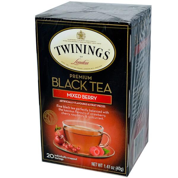 Премиум черный чай, ягодное ассорти, 20 пакетиков, 1,41 унции (40г)
