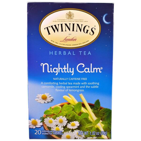 Травяной чай Nightly Calm, природное отсутствие кофеина, 20 чайных пакетиков, 29 г (1,02 унции)