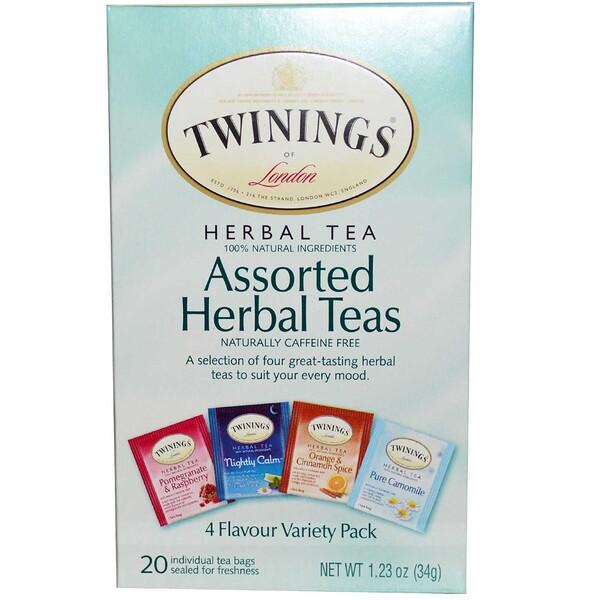Twinings, Ассорти из травяных чаев, смешанный набор, без кофеина, 20 чайных пакетиков, 34 г (1,23 унции)