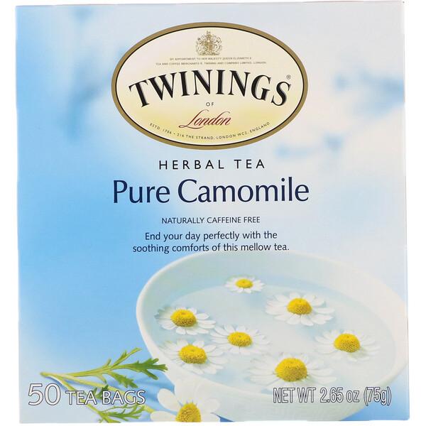 Twinings, Травяной чай, чистая ромашка, без кофеина, 50чайных пакетиков, 75г