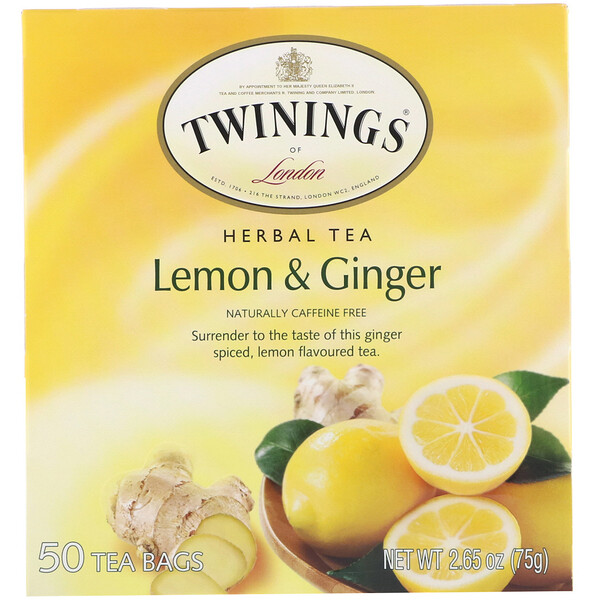 Травяной чай, лимон и имбирь, без кофеина, 50чайных пакетиков, 75г