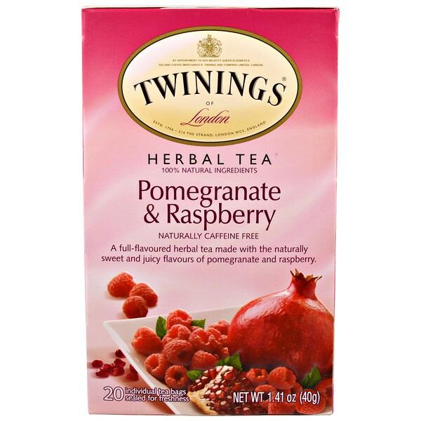 Twinings, Травяной чай, гранат и малина, без кофеина, 20 чайных пакетиков, 40 г (1,41 унции)