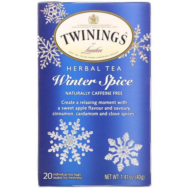 Twinings, Травяной чай, Winter Spice, без кофеина, 20чайных пакетиков, 40г (1,41унции)