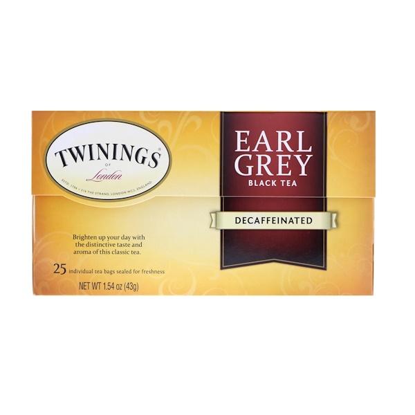Twinings, Earl Grey, черный чай, без кофеина, 25 чайных пакетиков, 43 г (1,54 унции)