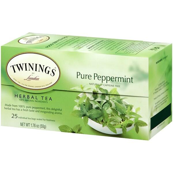 Травяной чай, чистая перечная мята, без кофеина, 25чайных пакетиков, 50г (1,76 унции)