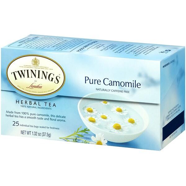 Травяной чай, чистая ромашка, без кофеина, 25 чайных пакетиков, 37,5 г (1,32 унции)