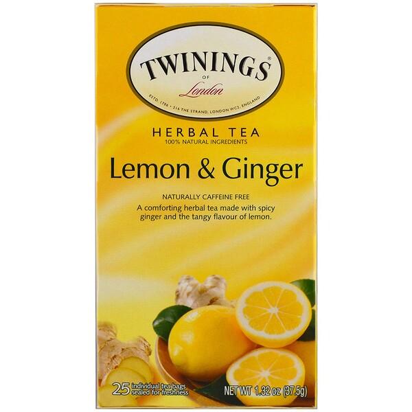 Травяной чай, без кофеина, лимон и имбирь, 20 пакетиков, 1,32 унции (37,5 г)
