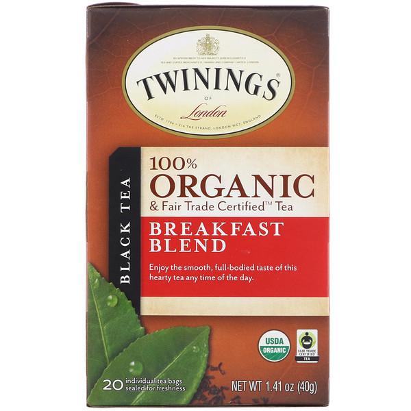 100% Органический Черный Чай, Купаж для Завтрака, 20 пакетиков, 1.41 унций (40 г)