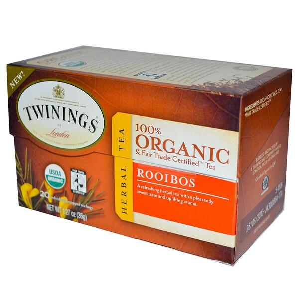 Органический травяной чай ройбуш, 20 чайных пакетиков, 36 г (1,27 унции)