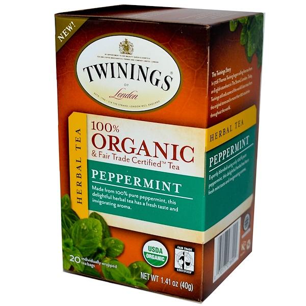 Twinings, 100% органический травяной чай, мята перечная, 20 пакетиков, 1,41 унции (40 г) (Discontinued Item)