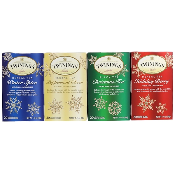 Seasonal Tea Variety Pack, Special Edition, Holiday, 4 Boxes, 20 Tea Bags Each