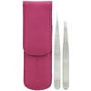 Tweezerman, Набор миниатюрных пинцетов в розовом кожаном чехле, 1шт.