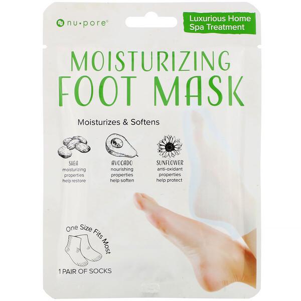 Nu-Pore, Moisturizing Foot Mask, 1 Pair